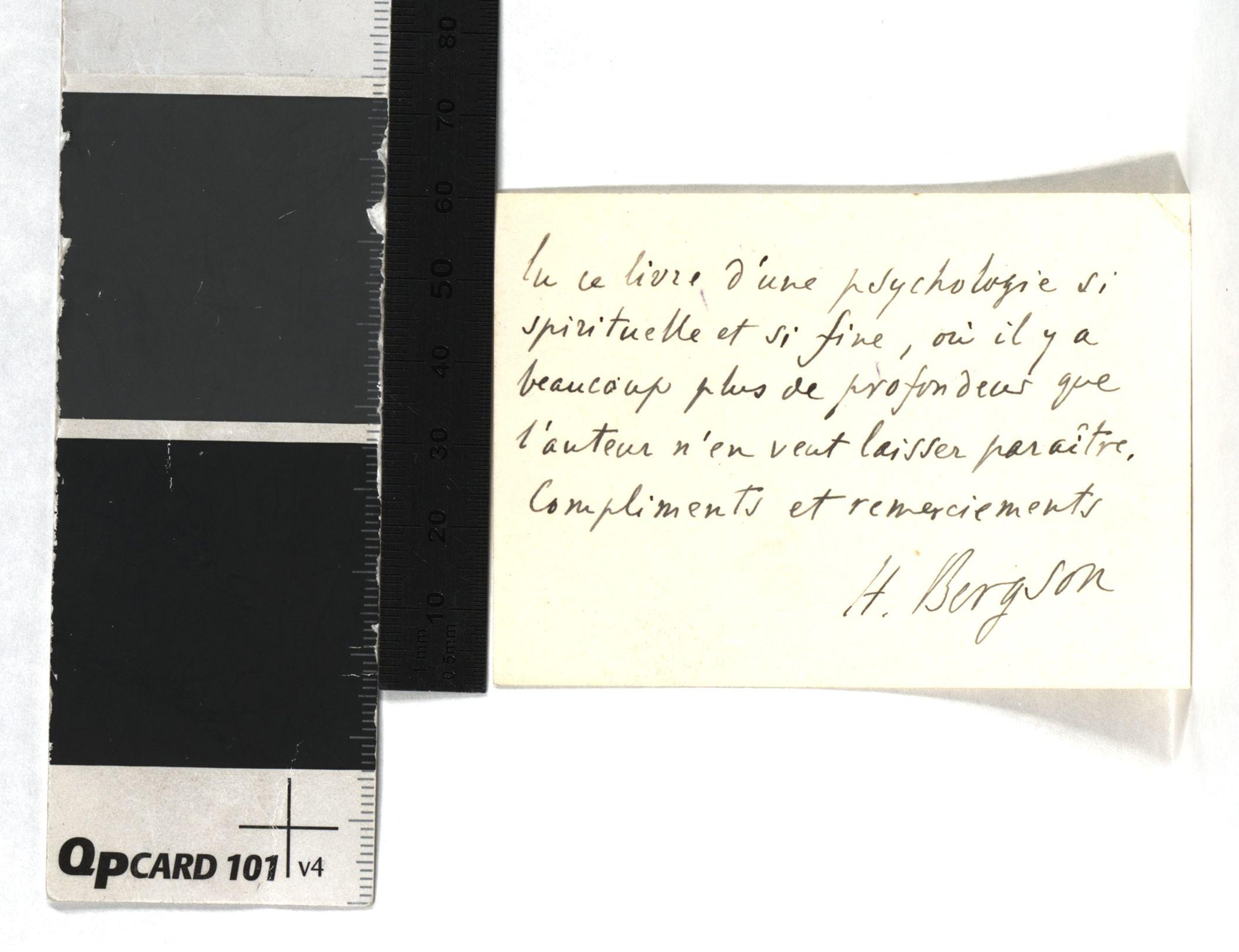 Carte De Visite Bergson Avec Lignes Autographes Signee H